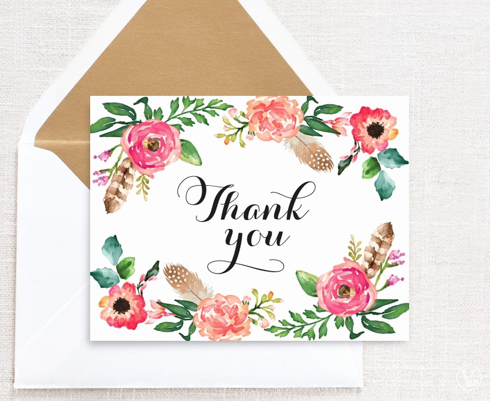 Template for Thank You Card Unique Floral Wedding Thank You Card Template Printable Thank You