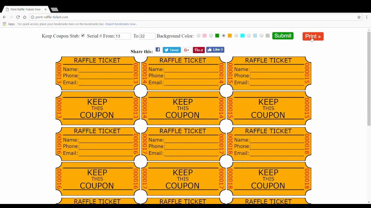 Template for Tickets with Numbers Elegant Print Raffle Tickets Free Name Phone Email Printable