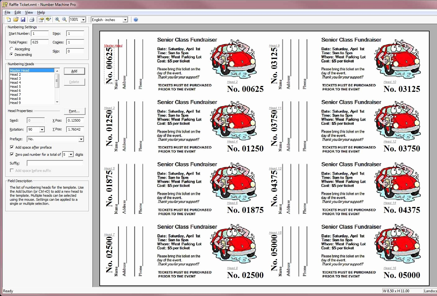 Template for Tickets with Numbers Fresh Buy Number Machine Pro now