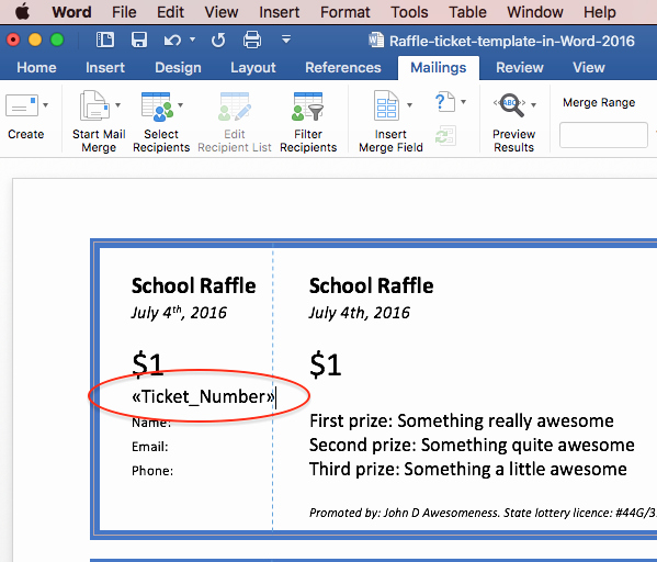 Template for Tickets with Numbers Fresh Print Raffle Tickets Using A Template In Fice Word 2016