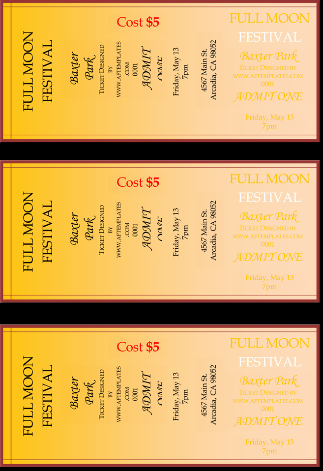 Template for Tickets with Numbers Inspirational Pin Templates