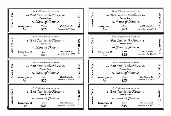 Template for Tickets with Numbers Luxury 30 Printable Ticket Templates to Download