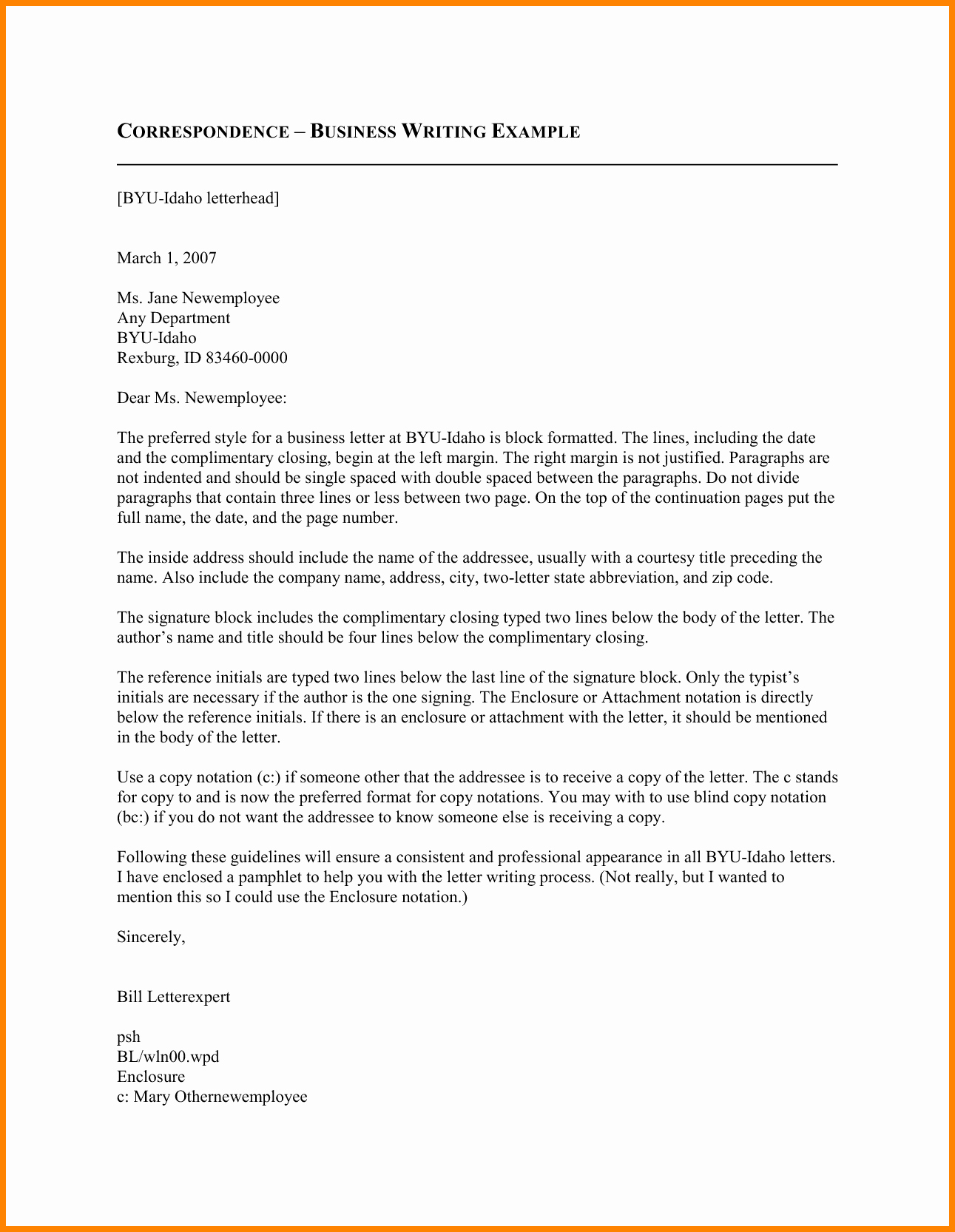 Template Of A Business Letter Awesome 6 Letter Correspondence format