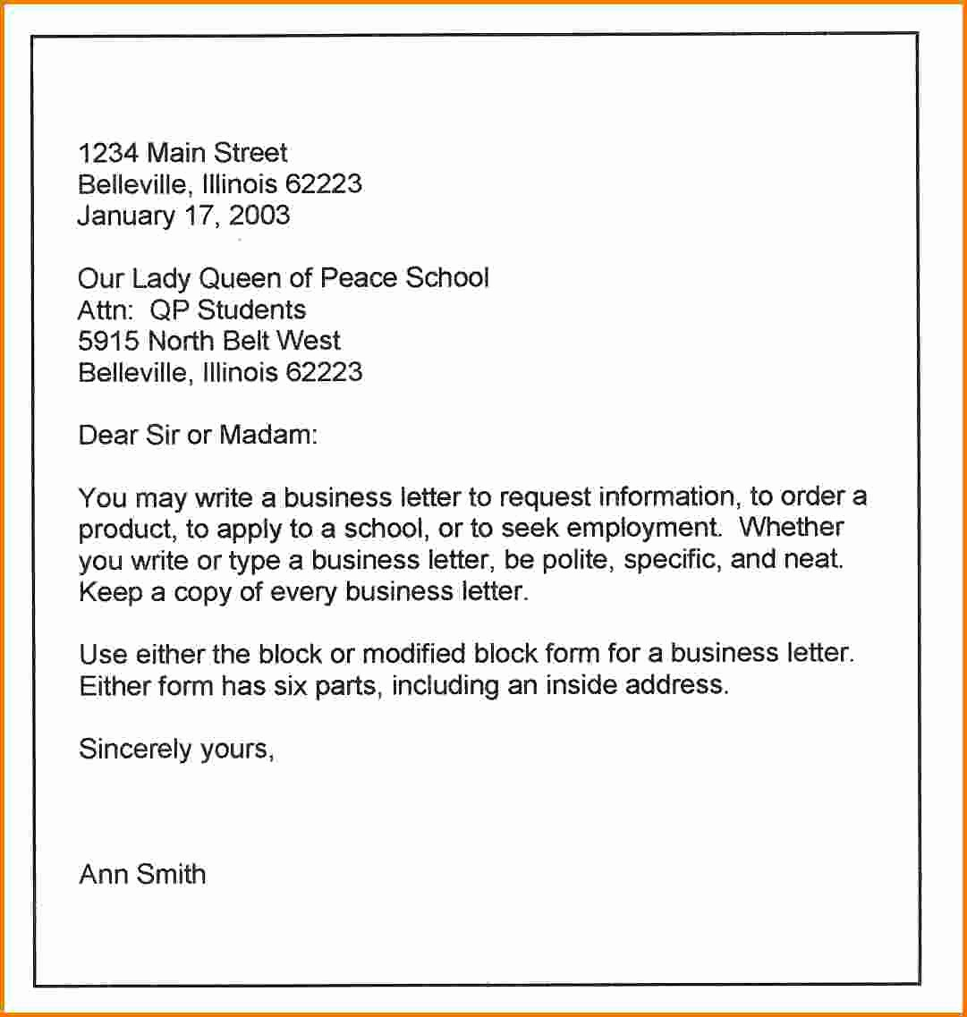Template Of A Business Letter Elegant 10 formal Business Letters