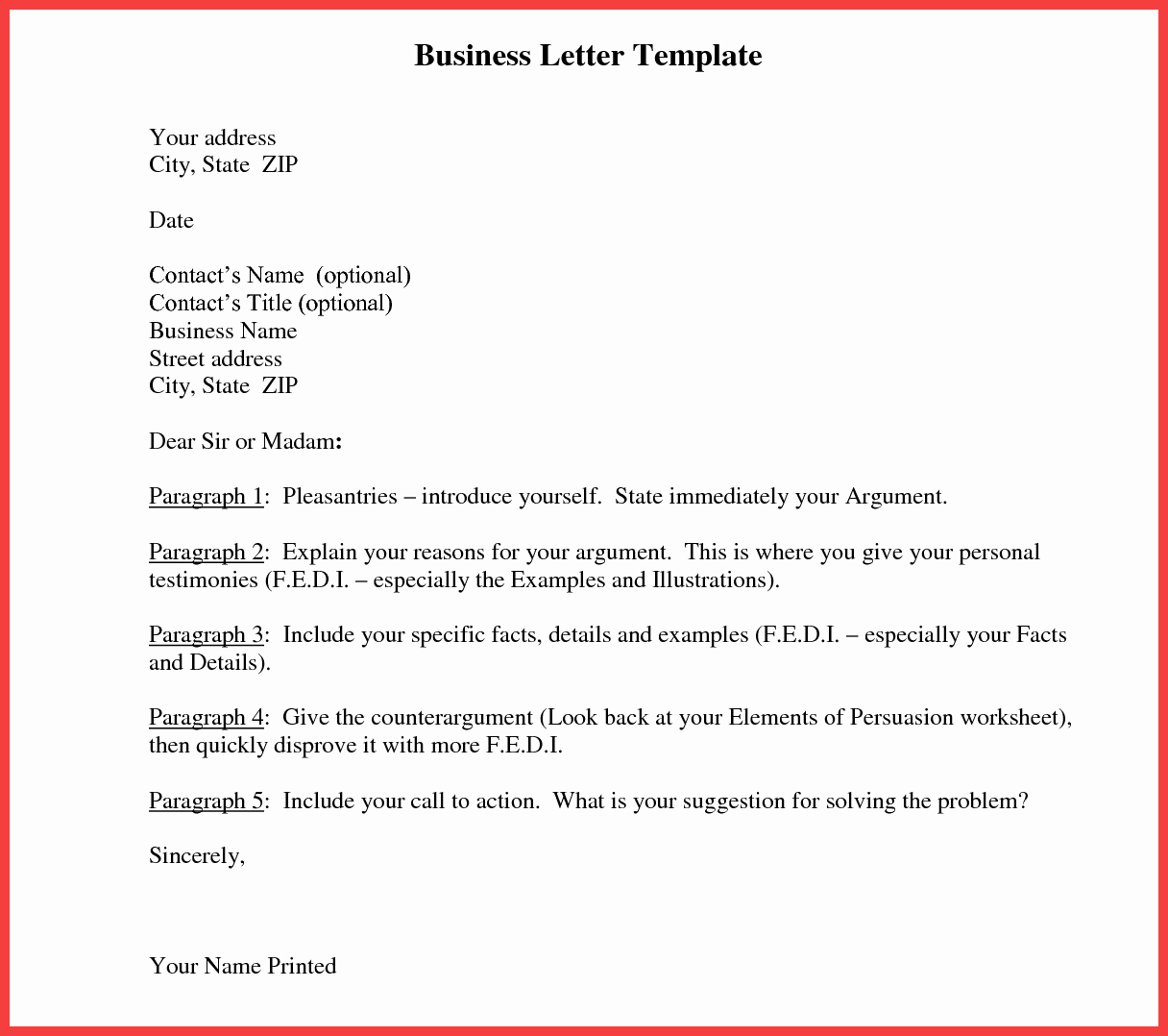 Template Of A Business Letter Fresh formal Letter Template Word