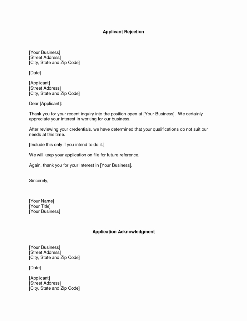 Template Of A Business Letter Lovely Refusal Letter Templates