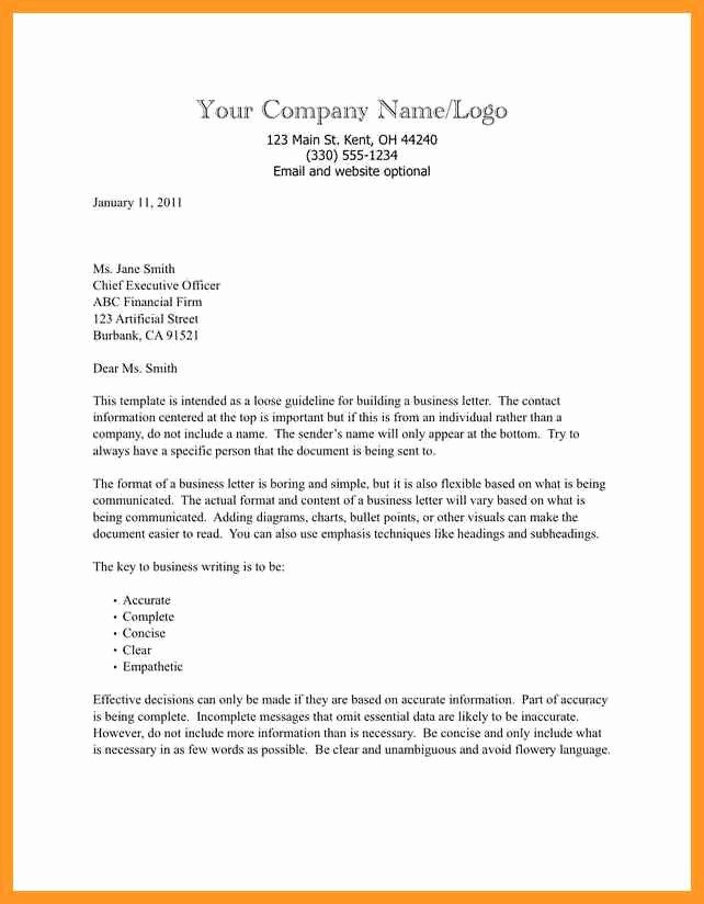 Template Of A Business Letter New Business Letter format Template Word