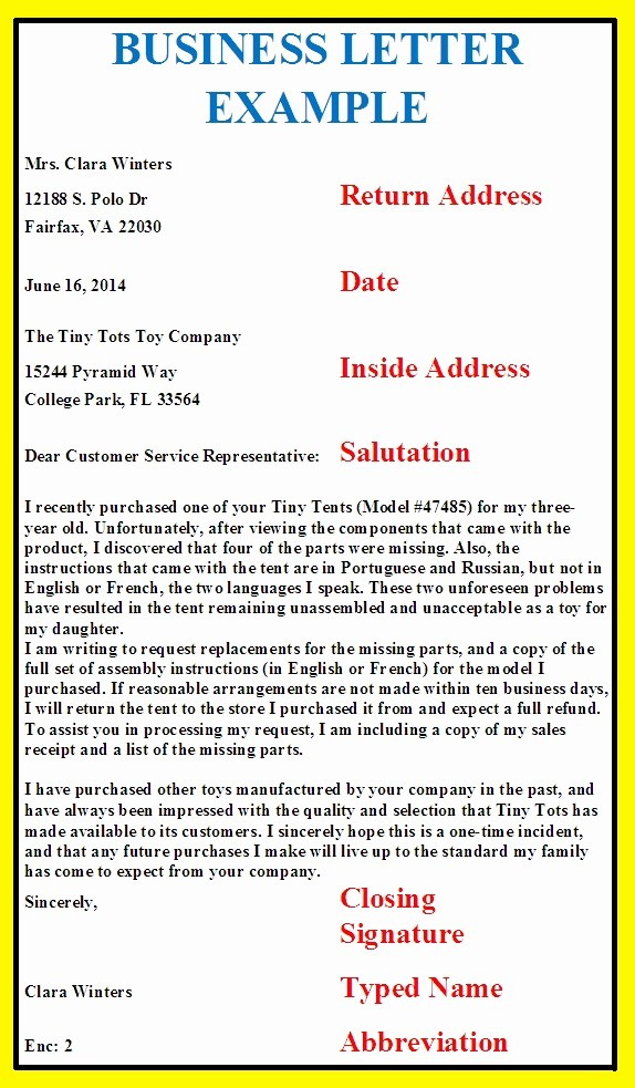 Template Of A Business Letter Unique Business Letter format Example