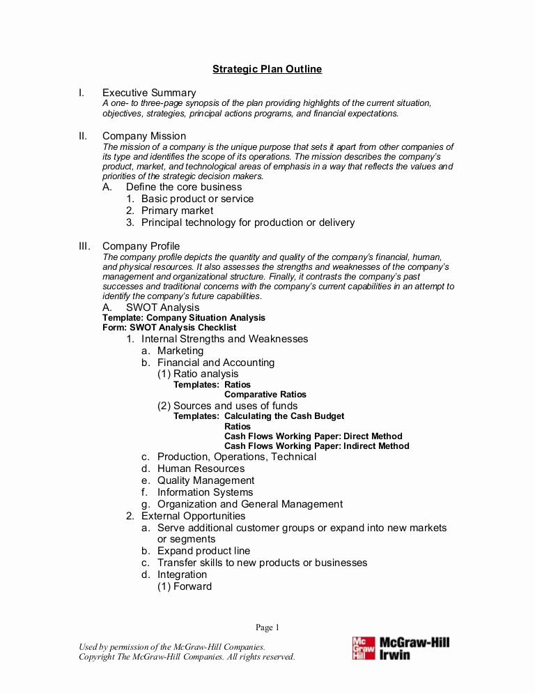 Template Of A Business Plan Awesome 8 Strategic Plan Outline