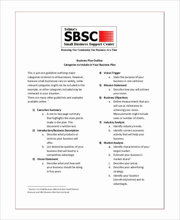 Template Of A Business Plan Elegant 19 Business Plan Outline Samples