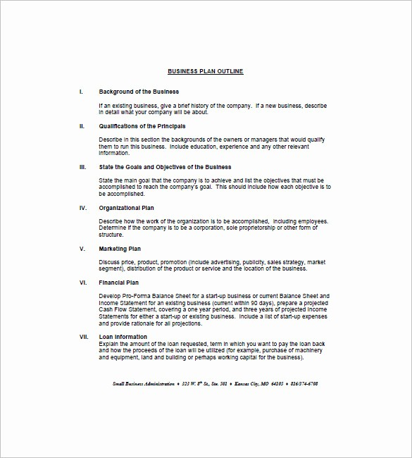 Template Of A Business Plan Fresh Business Plan Outline Template – 21 Free Sample Example