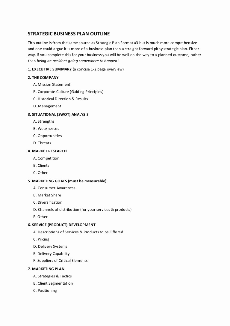 Template Of A Business Plan Inspirational 12 Strategic Business Plan Outline
