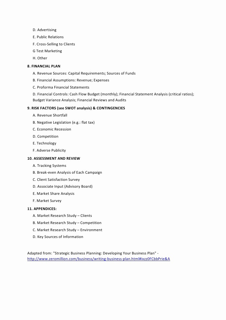 Template Of A Business Plan Luxury 12 Strategic Business Plan Outline