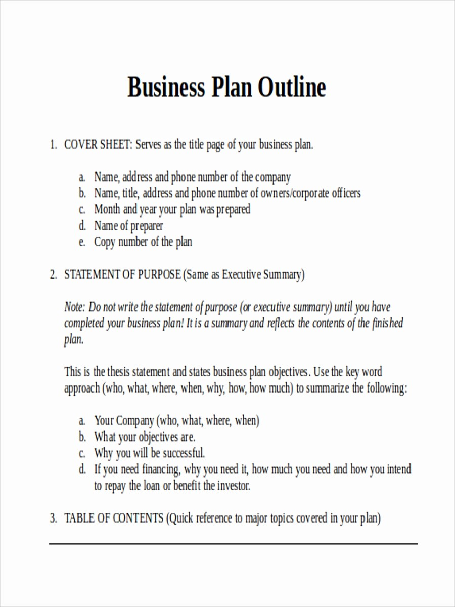 Template Of A Business Plan Unique 36 Outline Examples & Samples In Word Pages