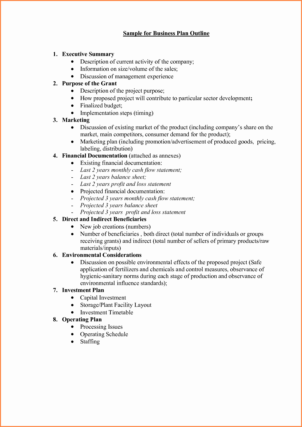 Template Of A Business Plan Unique 5 Business Plan Proposal Template