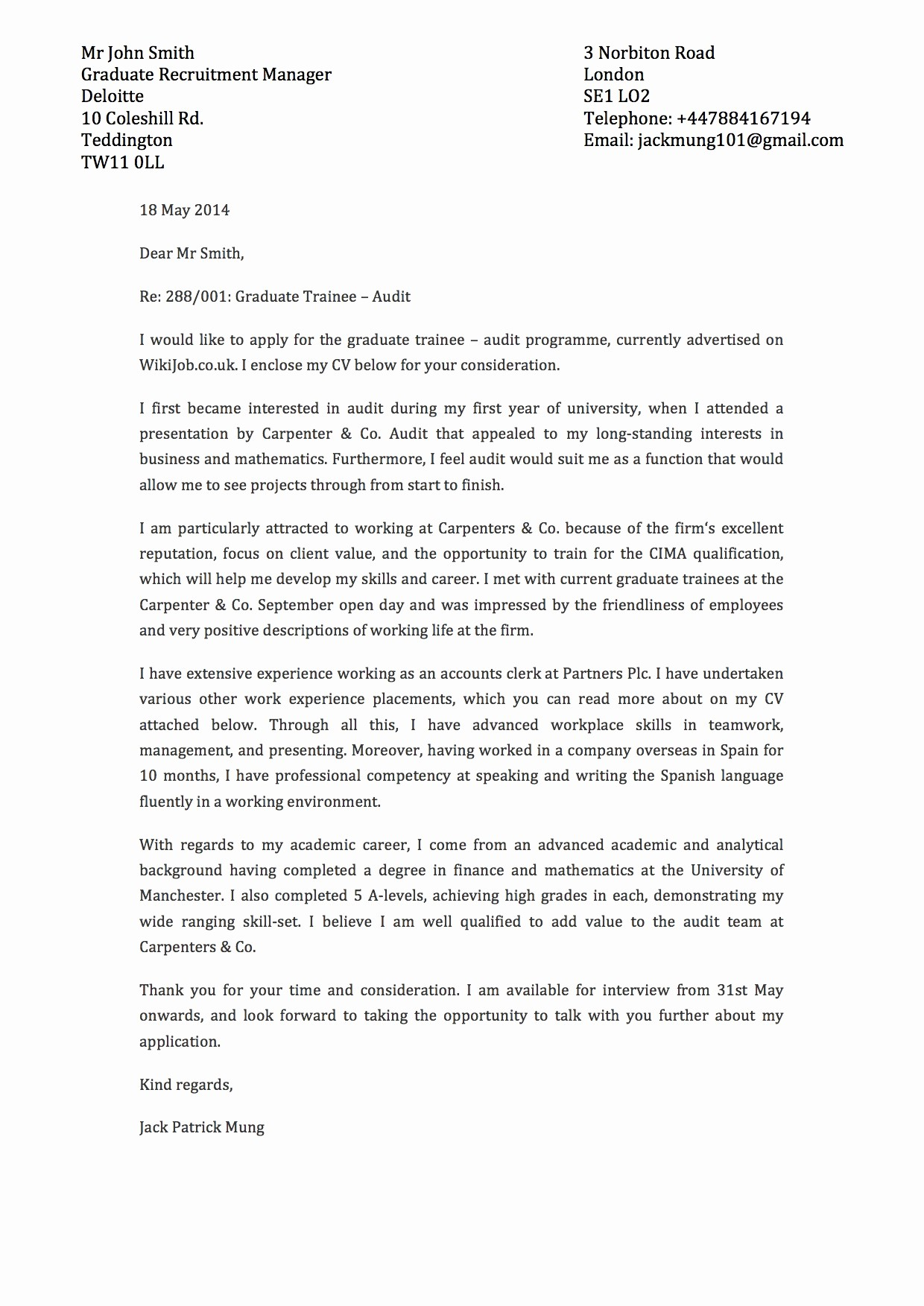 Template Of A Cover Letter Inspirational Templates and Examples