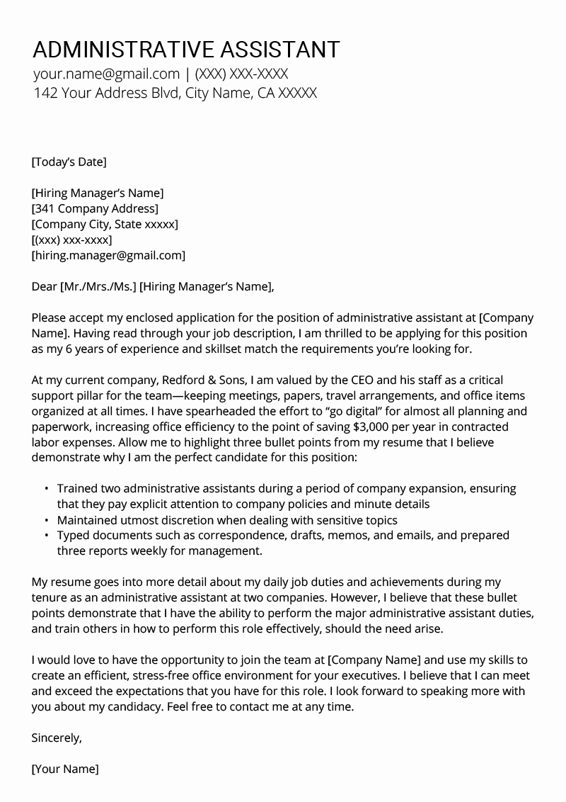 Template Of A Cover Letter Lovely Administrative assistant Cover Letter Example & Tips