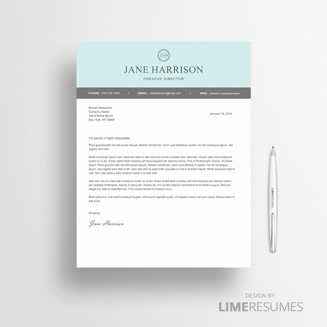 Template Of A Cover Letter Lovely Modern Resume Template for Microsoft Word Limeresumes