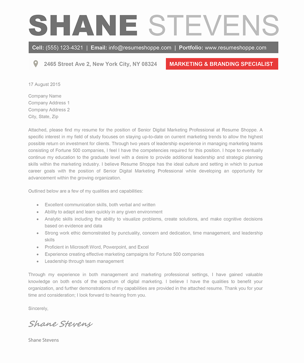 Template Of A Cover Letter New the Shane Cover Letter Creative Resume Template