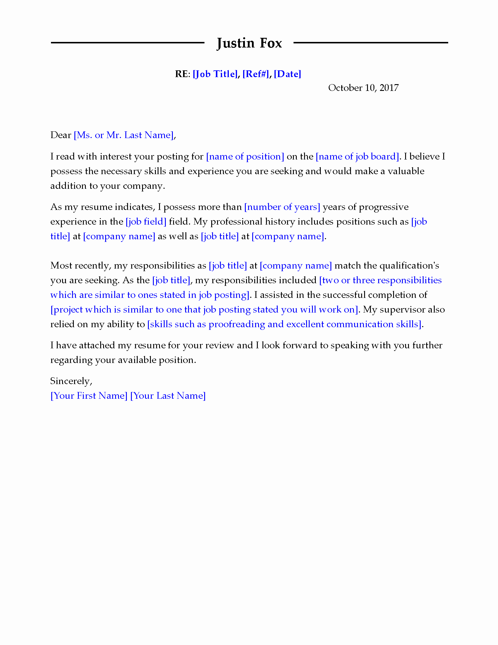 Template Of A Cover Letter Unique Get the Job with Free Professional Cover Letter Templates