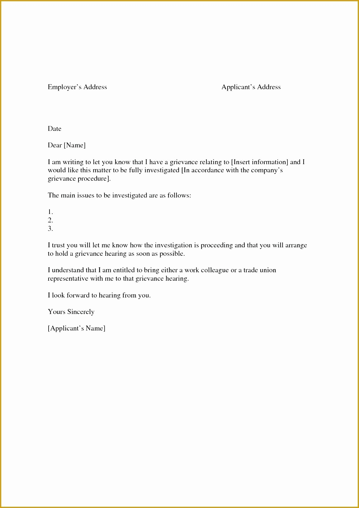 Template to Write A Letter Beautiful Template Grievance Response Template