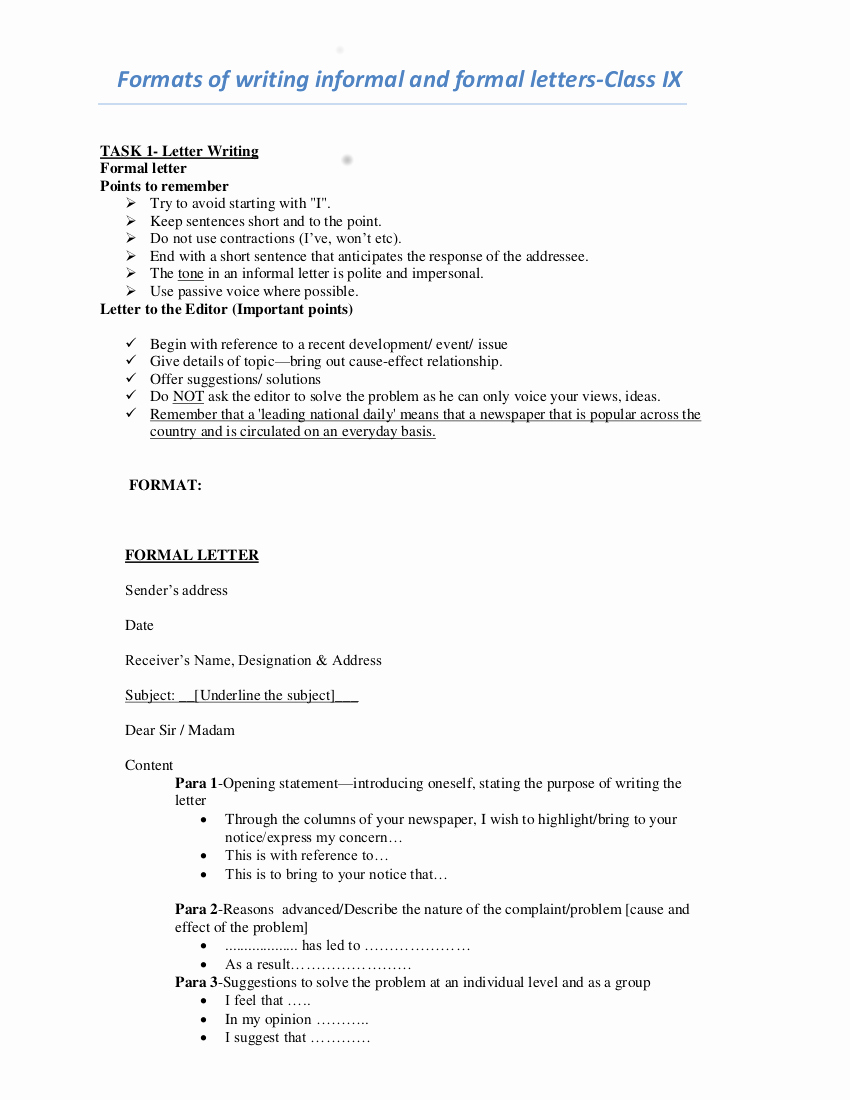 Template to Write A Letter Luxury 7 formal Letter Writing Examples In Pdf