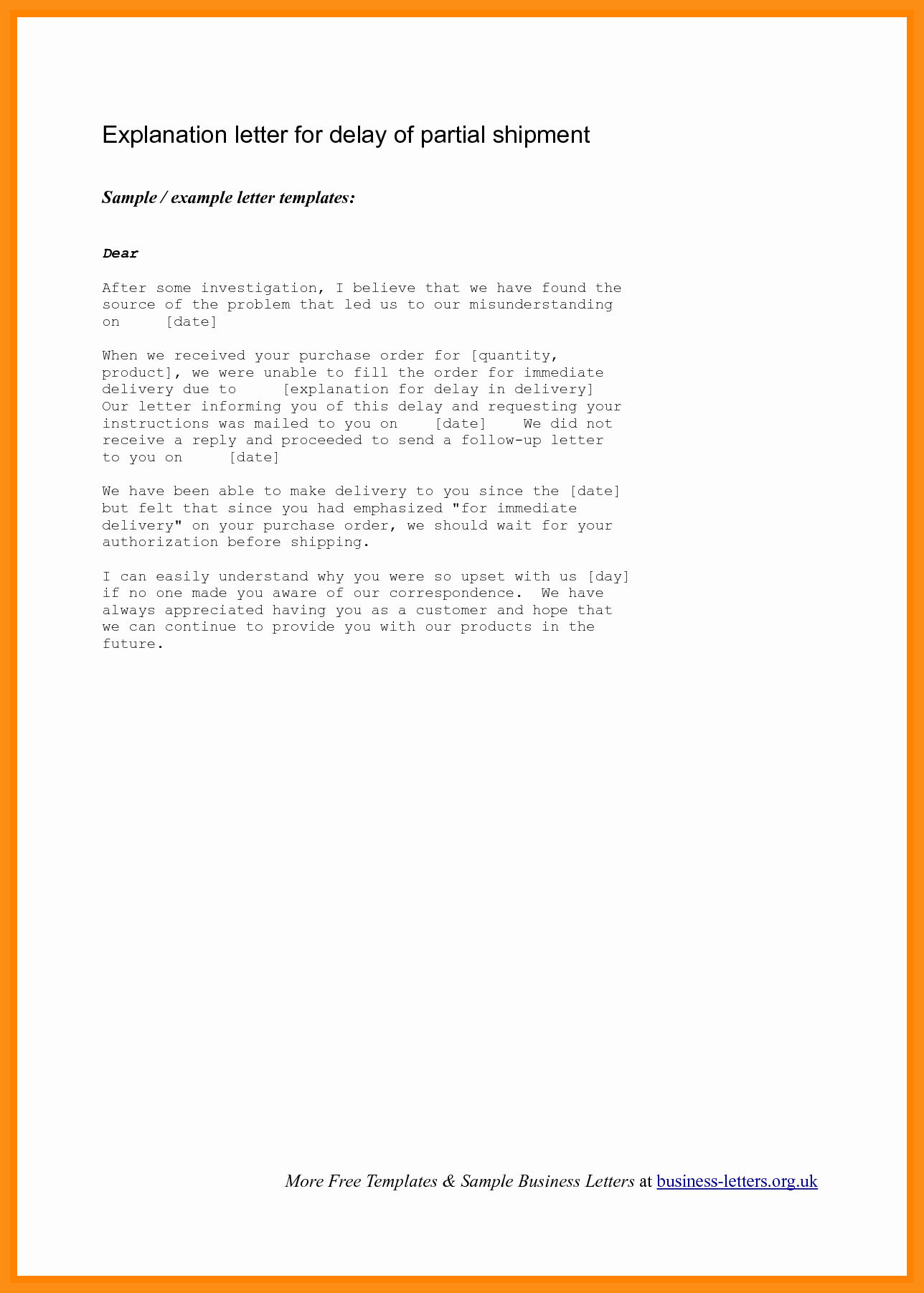 Template to Write A Letter Luxury Letter Of Explanation Template