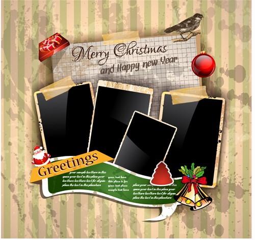 Templates for Cards Free Downloads Lovely Christmas Greetings Cards Vector Template 01 Vector Card