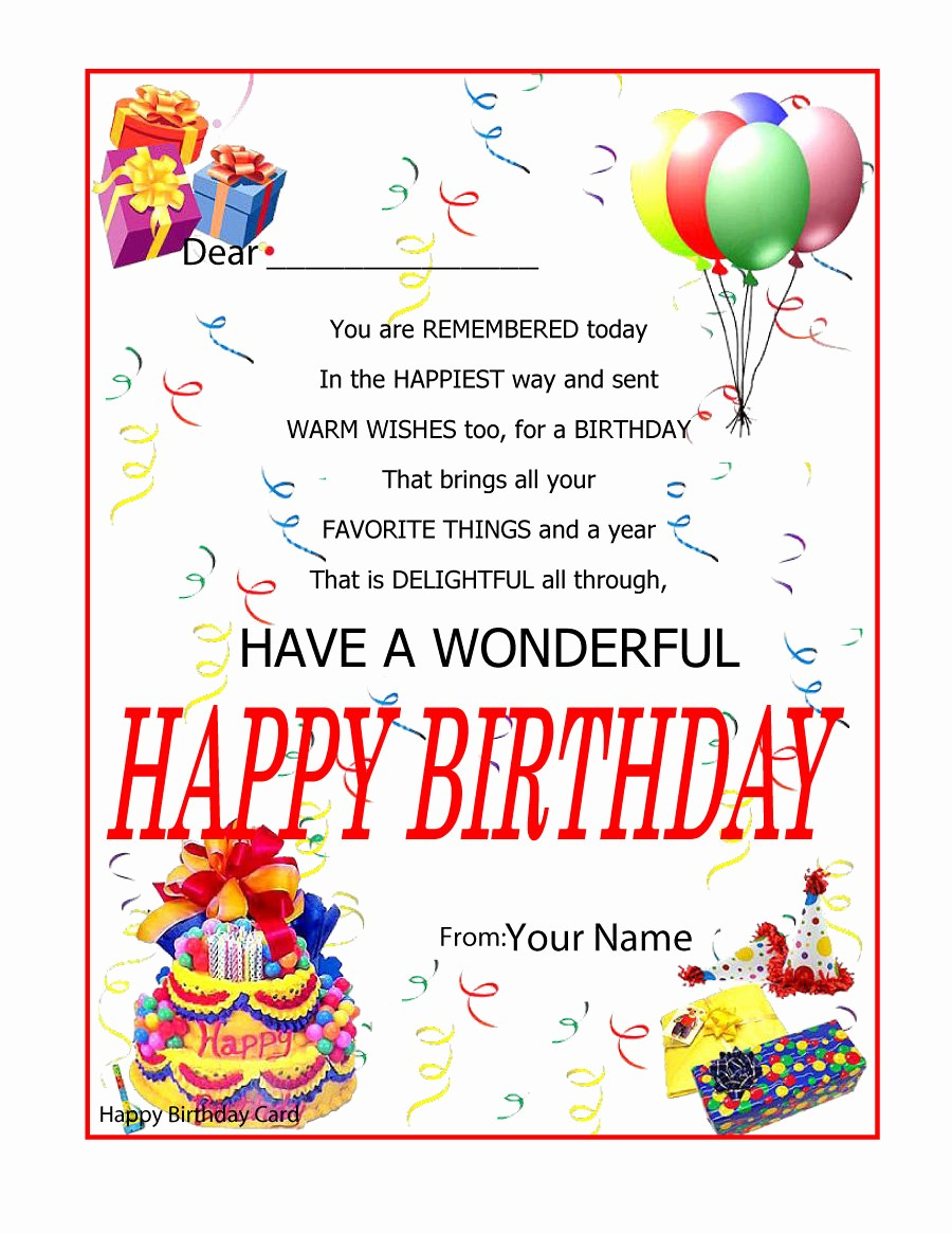 Templates for Cards Free Downloads Luxury 40 Free Birthday Card Templates Template Lab