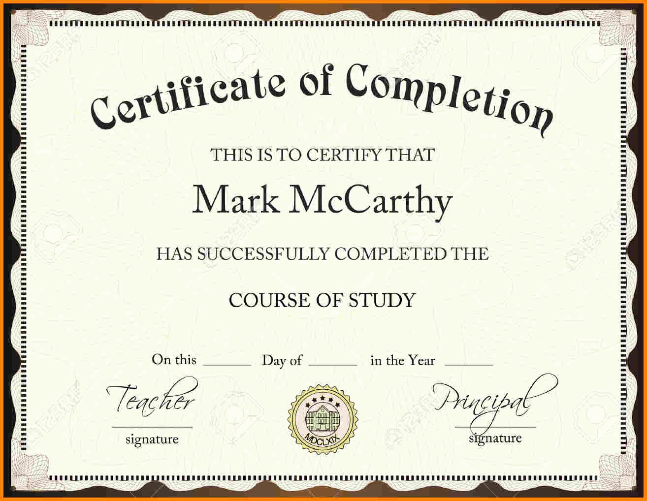 Templates for Certificates Of Completion Awesome Certificate Pletion Template Free Download