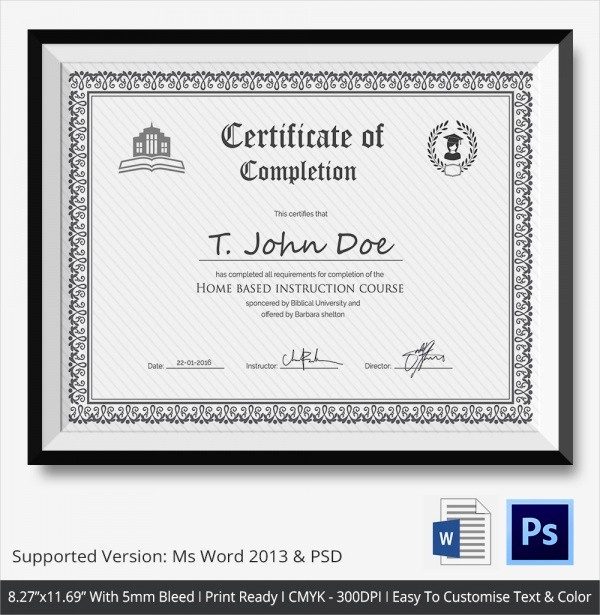 Templates for Certificates Of Completion Beautiful 26 Sample Certificate Of Pletion Templates