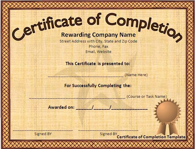 Templates for Certificates Of Completion Best Of 10 Certificate Pletion Templates Free Download