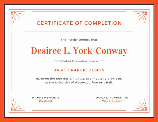 Templates for Certificates Of Completion Best Of orange and White Pletion Certificate Templates by Canva