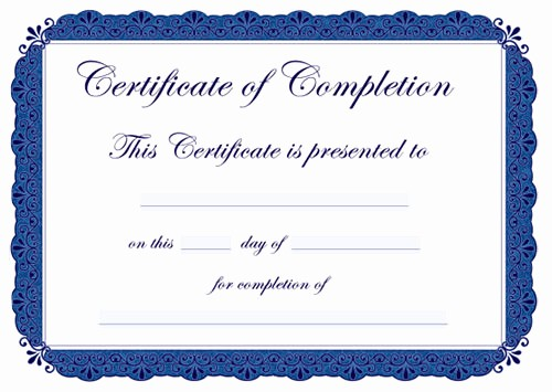 Templates for Certificates Of Completion Elegant 43 formal and Informal Editable Certificate Template