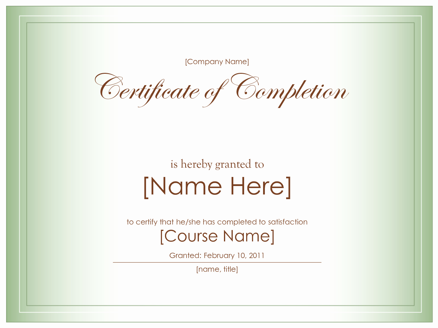 Templates for Certificates Of Completion Elegant Blank Certificate Templates to Print
