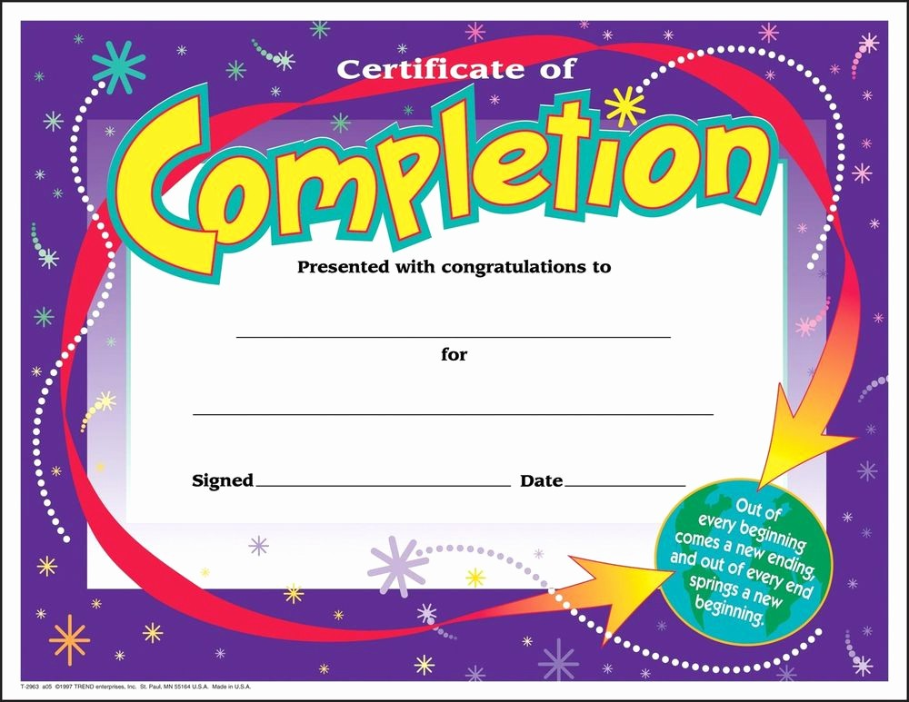 Templates for Certificates Of Completion Fresh 30 Certificates Of Pletion Large Certificate Award