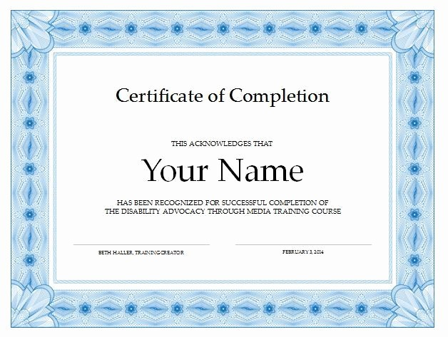 Templates for Certificates Of Completion Lovely 37 Free Certificate Of Pletion Templates In Word Excel Pdf