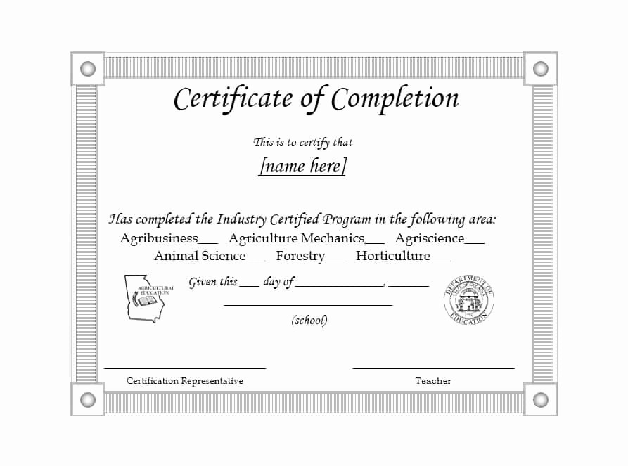 Templates for Certificates Of Completion Lovely 40 Fantastic Certificate Of Pletion Templates [word