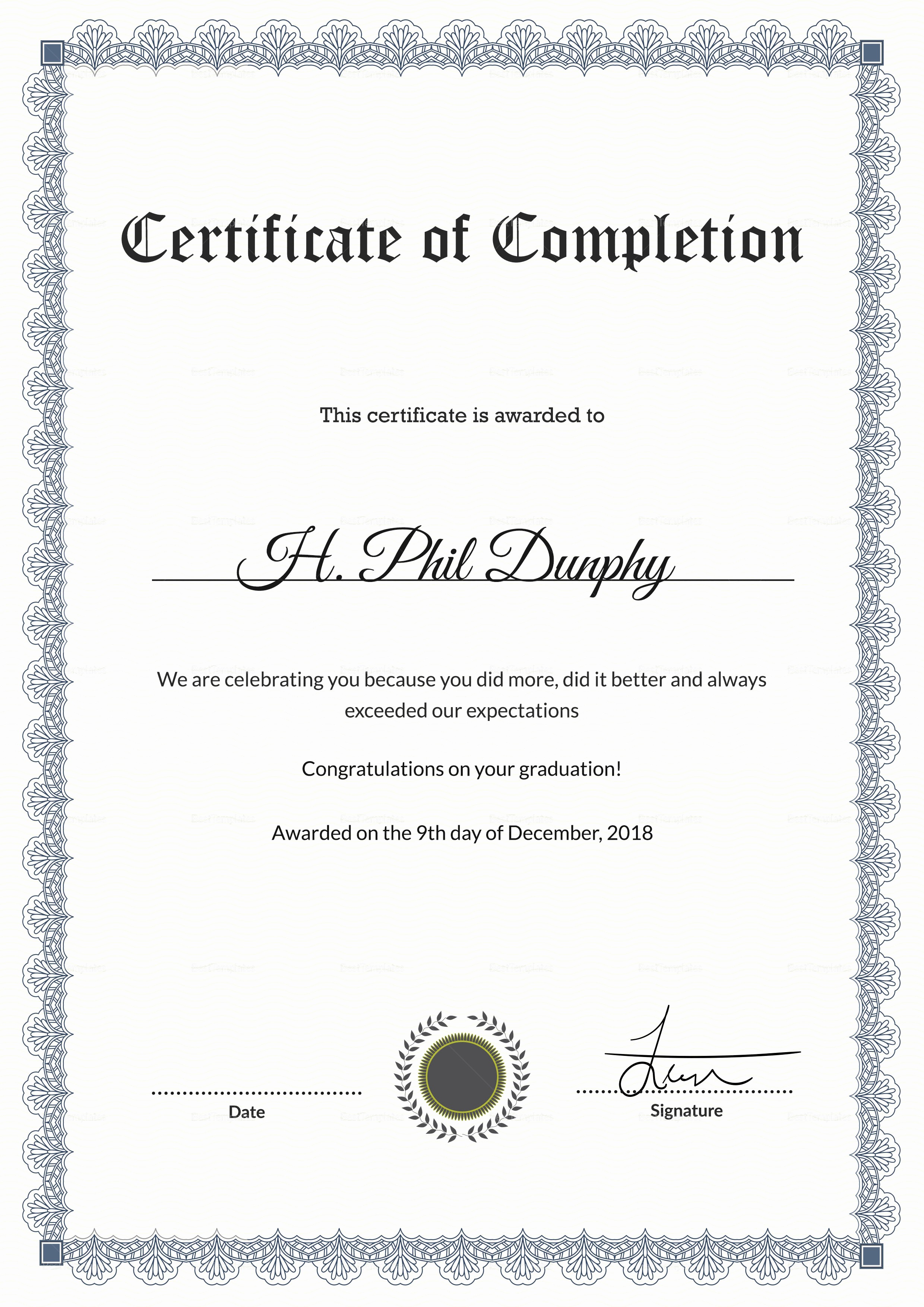 Templates for Certificates Of Completion Lovely formal Graduation Pletion Certificate Design Template