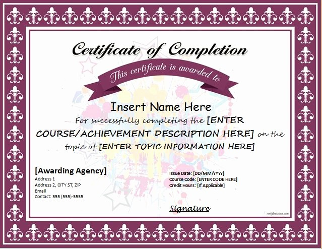Templates for Certificates Of Completion Luxury Certificates Of Pletion Templates for Ms Word