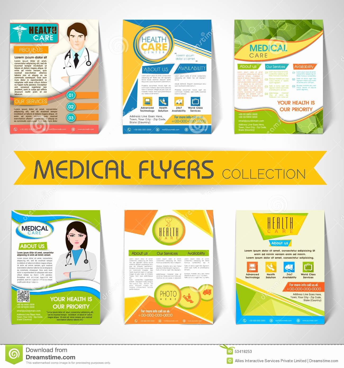 Templates for Flyers and Brochures Elegant Collection Medical Flyers Templates and Banners Stock