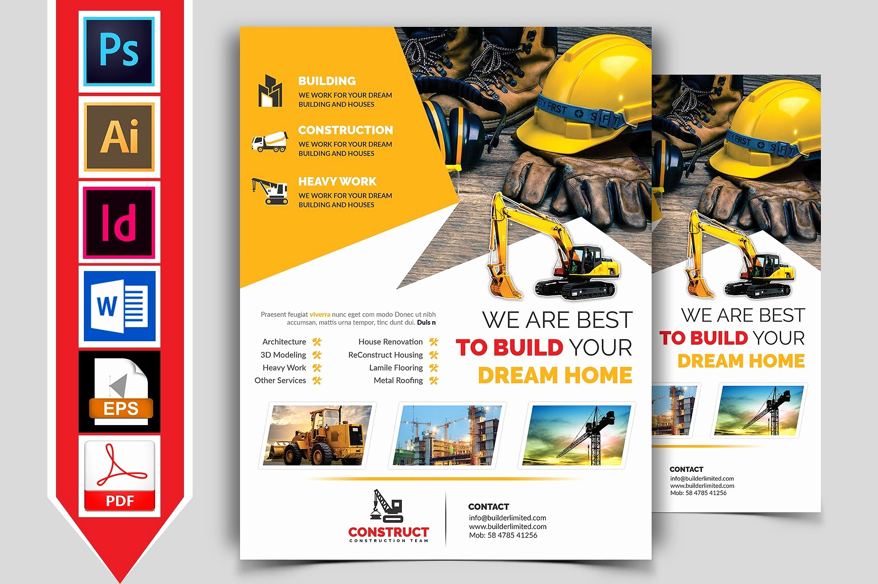 Templates for Flyers and Brochures Elegant Construction Flyer Template Vol 05 Flyer Templates