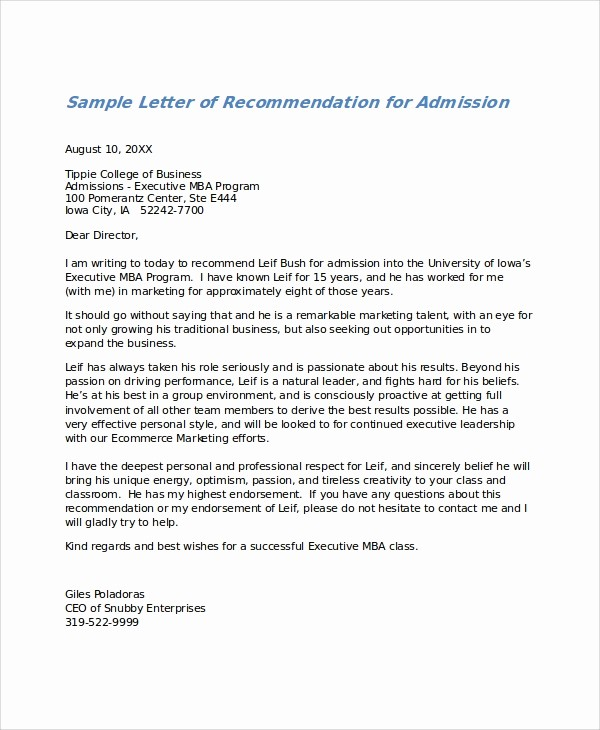 Templates for Letter Of Recommendation Luxury 27 Letter Of Re Mendation In Word Samples