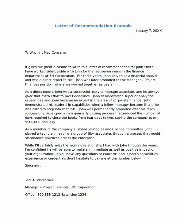 Templates for Letter Of Recommendation New 8 Sample Re Mendation Letters