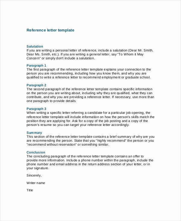 Templates for Letter Of Recommendation Unique 7 Job Reference Letter Templates Free Sample Example