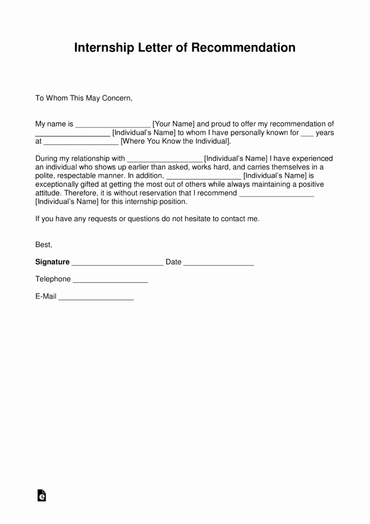Templates for Letter Of Recommendation Unique Free Re Mendation Letter for Internship with Samples