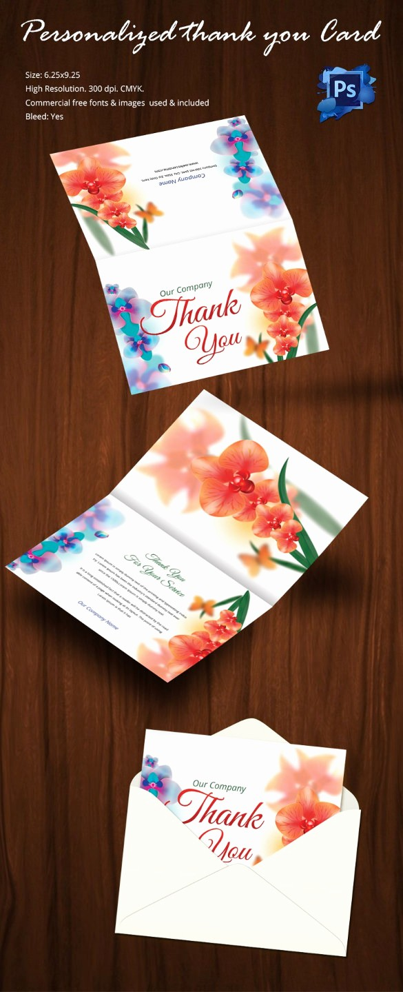 Thank You Card Template Free Best Of 30 Personalized Thank You Cards Free Printable Psd Eps