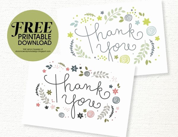 Thank You Card Template Free Elegant Free Printable Thank You Card Download She Sharon