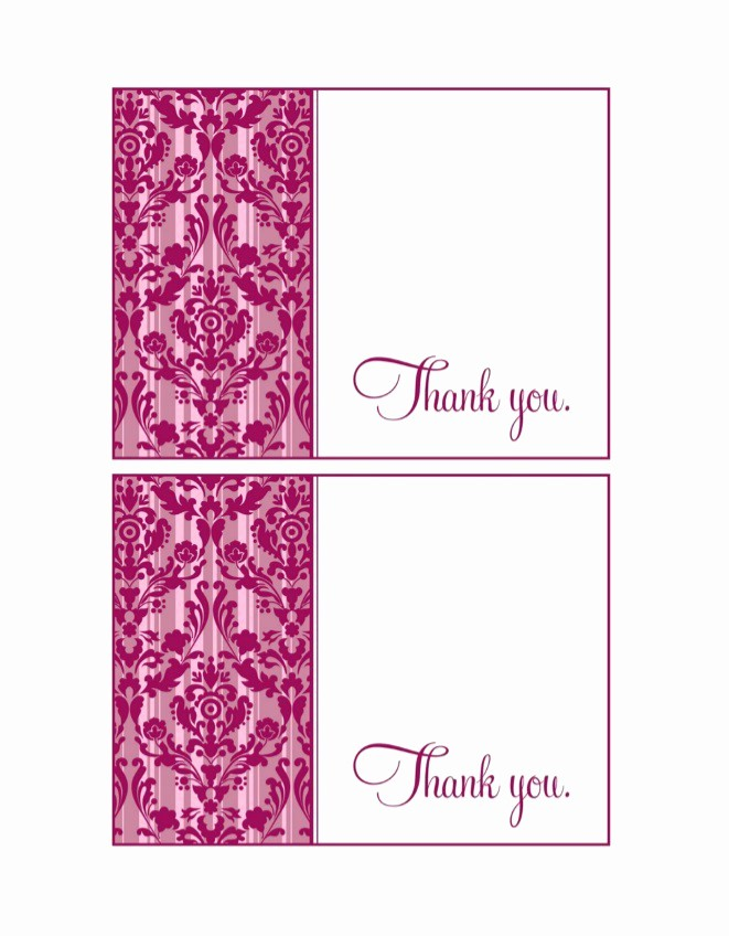 Thank You Card Template Free New 30 Free Printable Thank You Card Templates Wedding