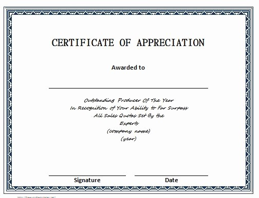 Thank You Certificate Word Template Awesome 30 Free Certificate Of Appreciation Templates and Letters